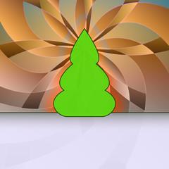 curved shape christmas tree orange floral geometry vector