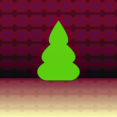 curved shape christmas tree on violet pattern vector