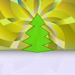 sharp shape christmas tree on yellow floral motive vector