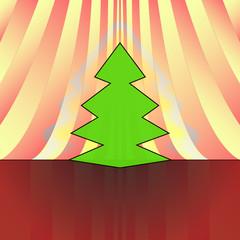 sharp shape christmas tree on red yellow curtain vector