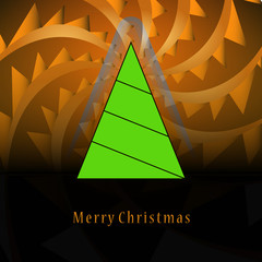 triangular shape christmas tree on orange triangle swirl