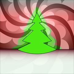 tree shape on center red circle swirl vector card