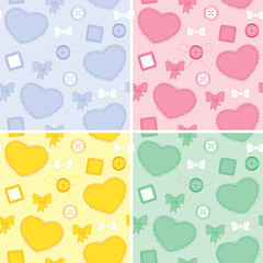 Set backgrounds whit hearts and patches