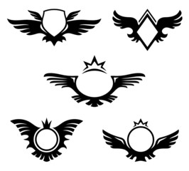 Wings shaped emblems. Coats of Arms with copyspace