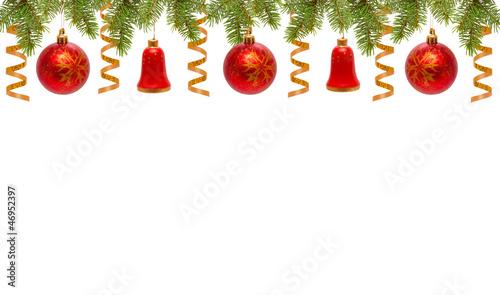 Weihnachten dekoration rote weihnachtskugeln und glocken for Rote dekoration