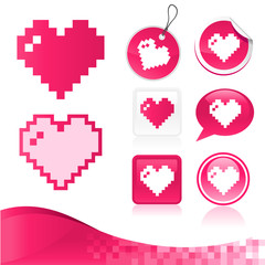 Printed kitchen splashbacks Pixel Pixel Heart Design Kit