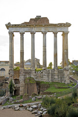 Detail of unrecognisable temple at the Fori Imperiali in Rome