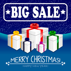 Big winter sale banner with gifts