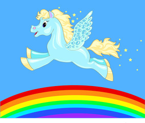 Foto op Textielframe Pony flying horse over the rainbow