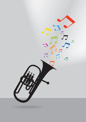 Trumpet silhouette in colorful musical concept on gray backgroun