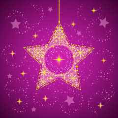 Christmas star with snowflakes purple