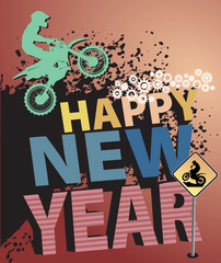 Motocross New Year background, vector illustration