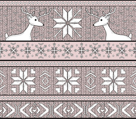 Hand drawn seamless knitted background in fair Isle style with d