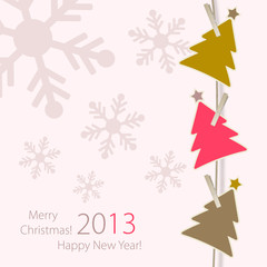Greeting card with Colours Christmas Tree