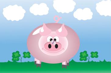 Cute cartoonized pig