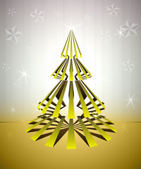 cool striped gold christmas tree with stars glitter vector card