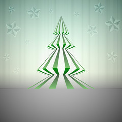 striped green sharp christmas tree with stars vector card