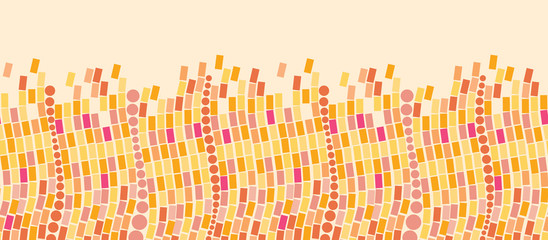 Vector Fire mosaic tiles horizontal seamless pattern background