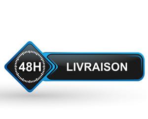 Fototapete - livraison 48 heures sur bouton web carré design bleu