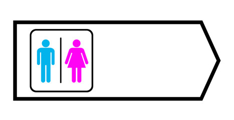 toilet sign with arrow