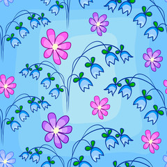 Seamless pattern with hand bells and flowers