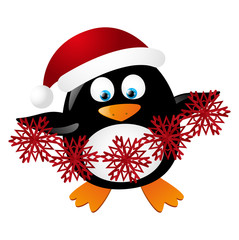 Cute penguin Santa