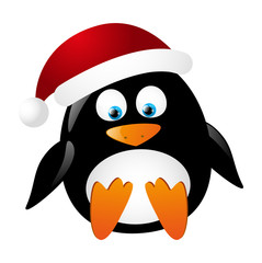 Cute penguin Santa