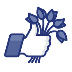 Thumbs Up icon with bunch of flowers