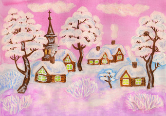 Winter landscape on pink, painting