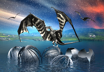 Photo sur Aluminium Dragons Dragon - Fantasy Scene