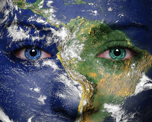 Earth painted on face. Elements of this image furnished by NASA
