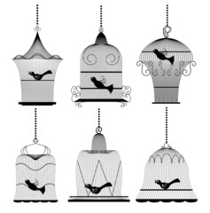 Wall Murals Birds in cages Vintage bird cage set