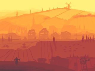 Abstract illustration of village in sunset.