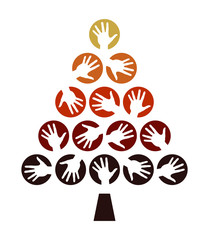 Hand tree celebration design.