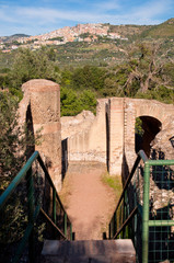 Fototapete - View of ruins and stairs at Villa Adriana background  Tivoli