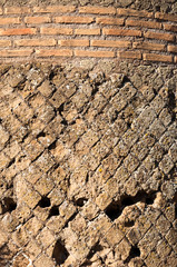 Fototapete - Details of ancient roman bricks wall at Villa Adriana