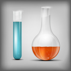 Chemical glass with liquid