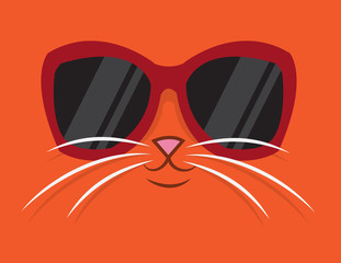 Cartoon cat head with sunglasses
