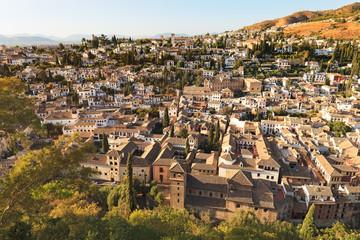 Granada, aerial panoramic view of Albaicin district. Andalusia,