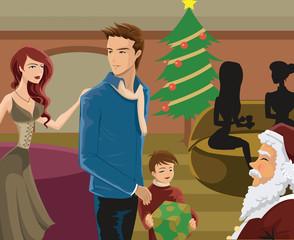 family seeing Santa at Christmas time