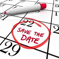 Save the Date Words Circled on Calendar Red Marker