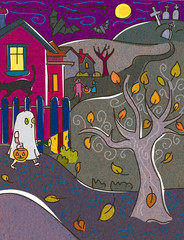 A child dressed as a ghost