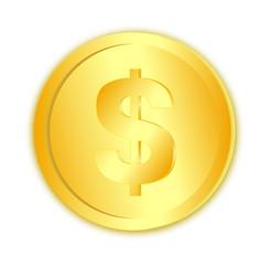 Dollar sign in gold coin