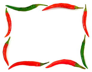 In de dag Hot chili peppers Frame made of red hot chili pepper