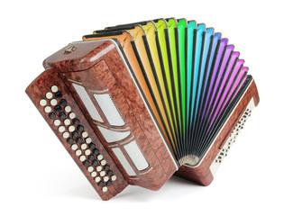 Brown bayan (accordion) colors of the rainbow