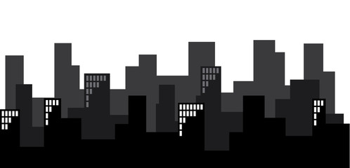 Silhouette of a city skyline, buildings with windows