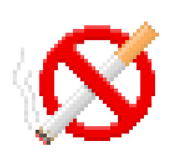 Foto auf AluDibond Pixel Pixel no smoking sign. Vector illustration.