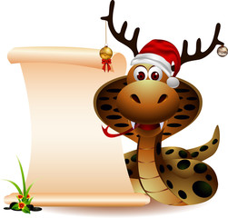 Cute Christmas snake with blank sign