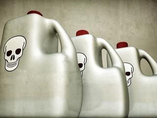 plastic bottles with skull logo