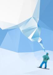 snowboarder on mountains, vector illustration